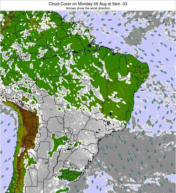 Brazil Cloud Cover on Friday 30 Jan at 10pm BRST