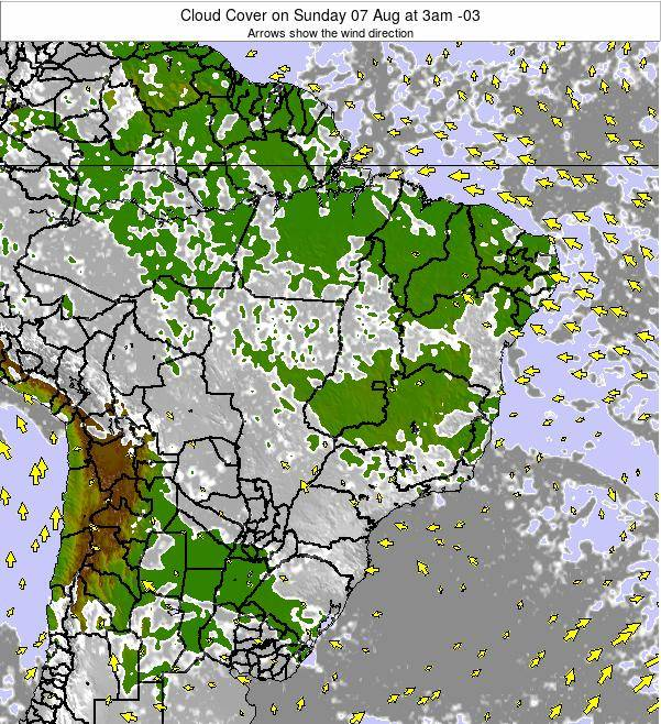 Brazil Cloud Cover on Thursday 17 Apr at 3pm BRT