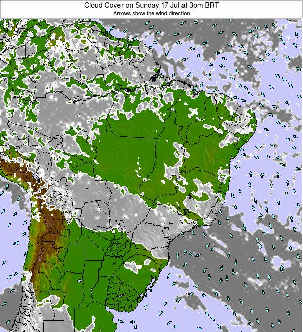 Brazil Cloud Cover on Thursday 08 Dec at 4pm BRST
