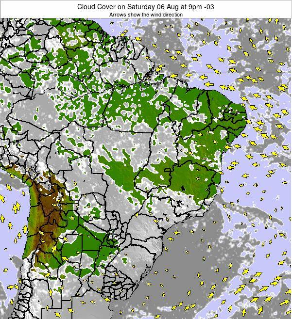 Brazil Cloud Cover on Thursday 24 Apr at 9pm BRT