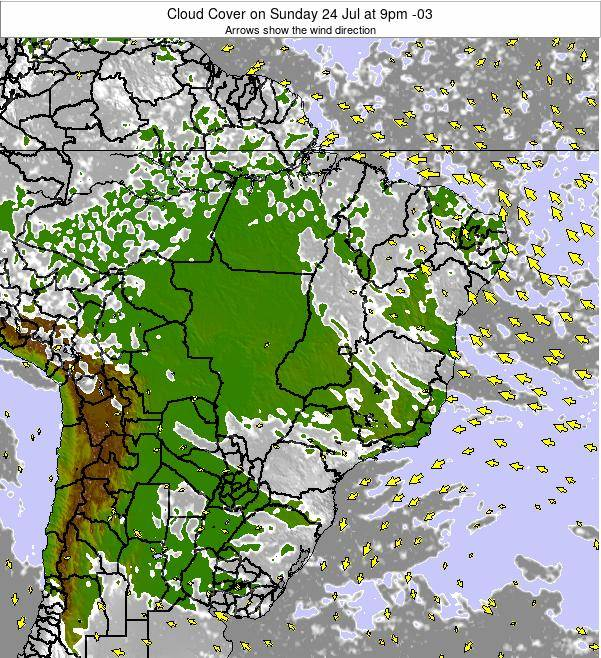 Brazil Cloud Cover on Thursday 20 Jun at 9pm BRT