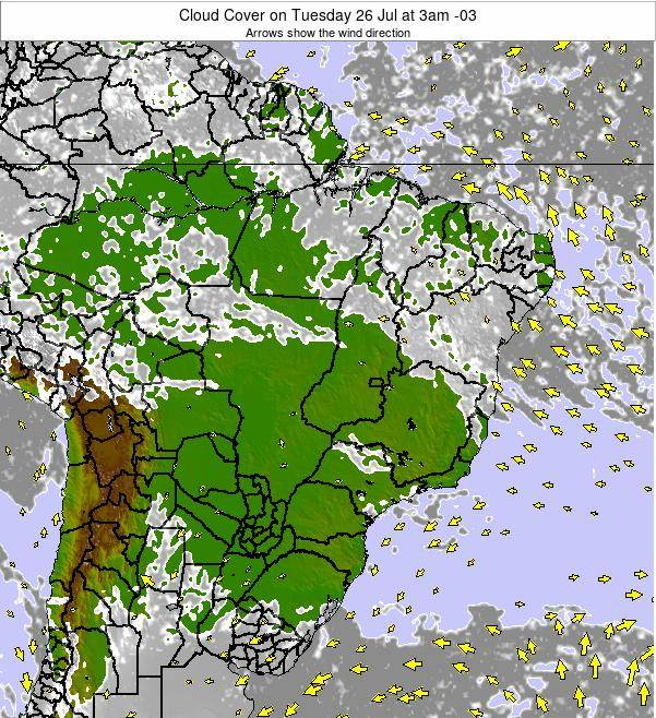 Brazil Cloud Cover on Thursday 23 May at 9pm BRT