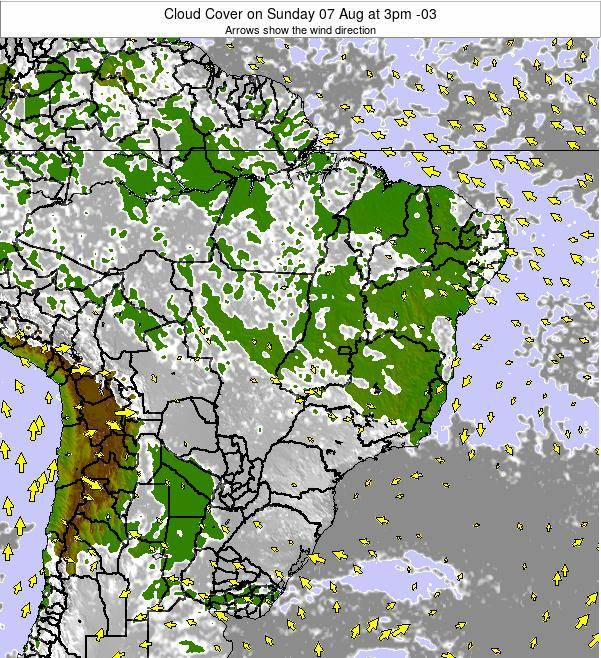 Brazil Cloud Cover on Thursday 24 Jul at 9pm BRT