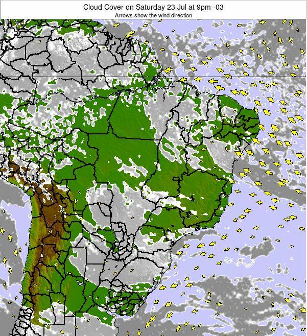 Brazil Cloud Cover on Sunday 22 Oct at 10pm BRST