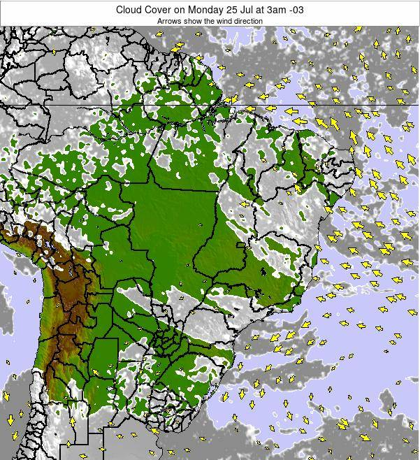 Brazil Cloud Cover on Friday 21 Jun at 3am BRT