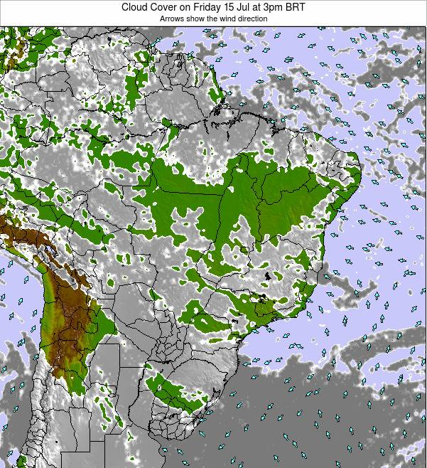 Brazil Cloud Cover on Tuesday 22 Apr at 3am BRT