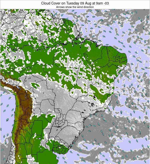 Brazil Cloud Cover on Saturday 19 Apr at 9am BRT