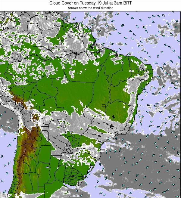 Brazil Cloud Cover on Wednesday 04 Mar at 9pm BRT