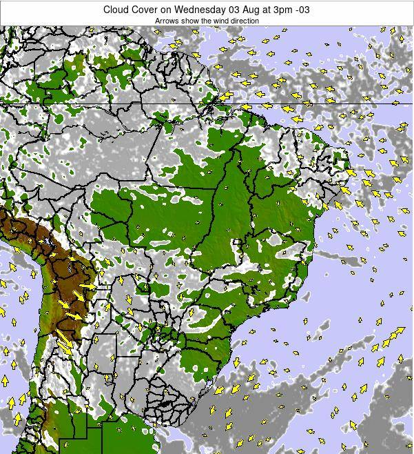 Brazil Cloud Cover on Thursday 13 Mar at 3am BRT