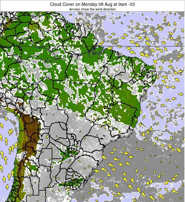 Brazil Cloud Cover on Thursday 29 Jun at 3am BRT