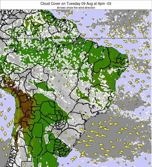 Brazil Cloud Cover on Friday 01 Aug at 3pm BRT