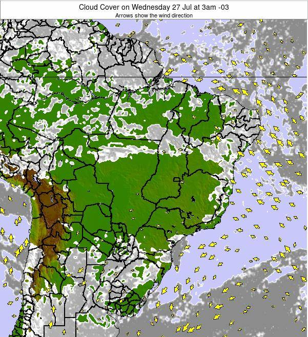 Brazil Cloud Cover on Wednesday 23 May at 3pm BRT map