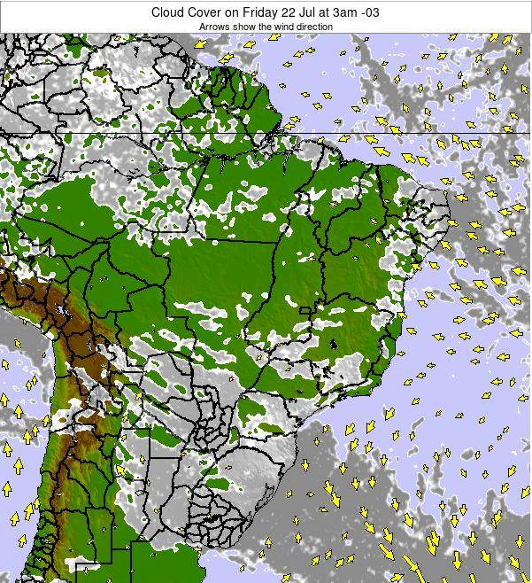 Brazil Cloud Cover on Thursday 02 Apr at 3pm BRT