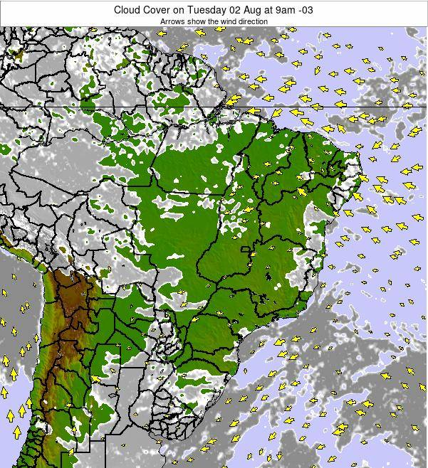 Brazil Cloud Cover on Thursday 30 Mar at 3am BRT