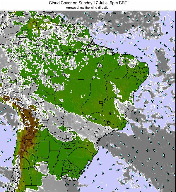 Brazil Cloud Cover on Friday 13 Dec at 4am BRST