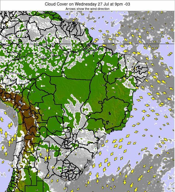 Brazil Cloud Cover on Monday 06 Jul at 9am BRT