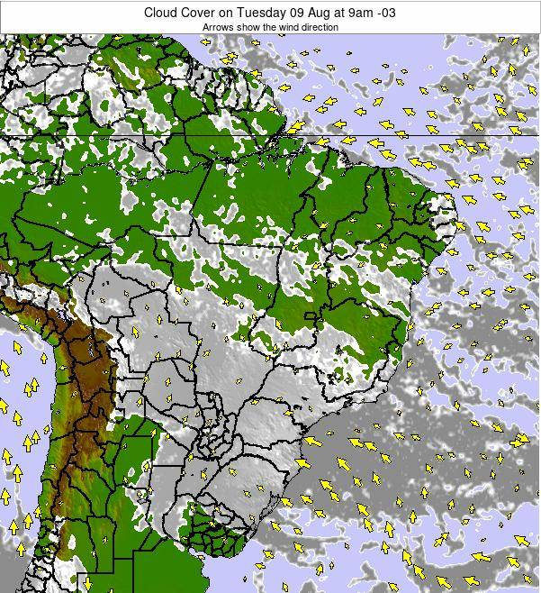 Brazil Cloud Cover on Thursday 02 Apr at 9am BRT
