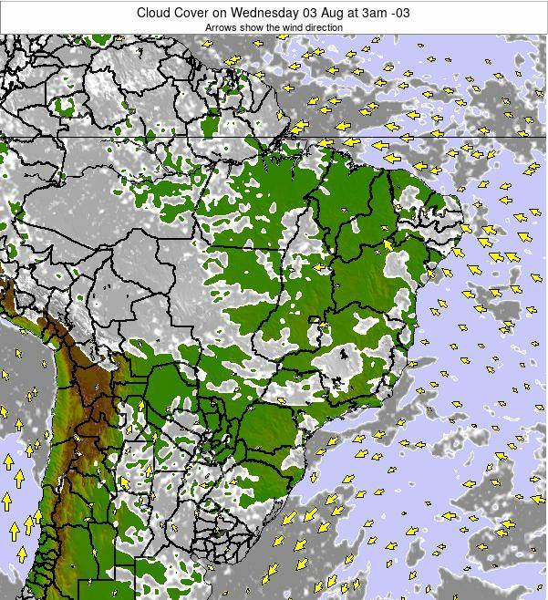 Brazil Cloud Cover on Friday 01 Aug at 3am BRT