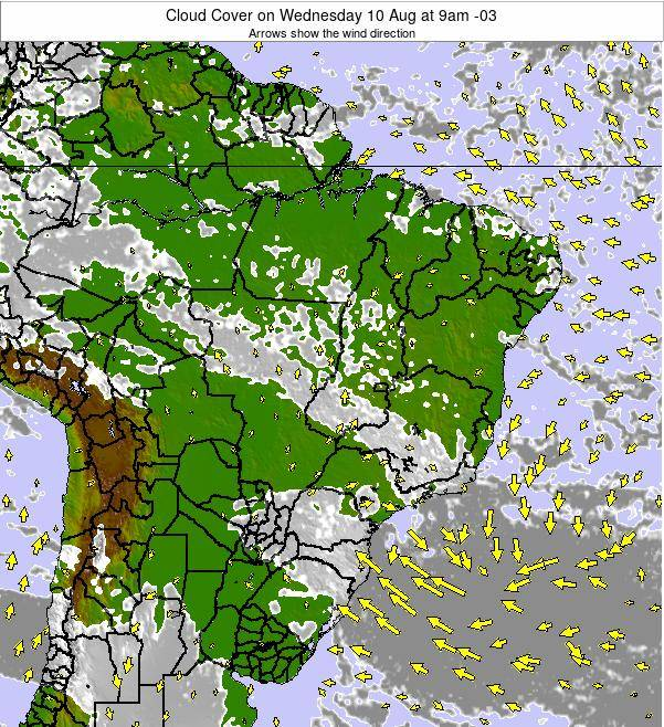 Brazil Cloud Cover on Wednesday 22 May at 9pm BRT