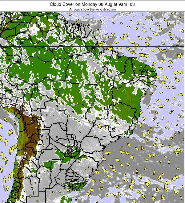 Brazil Cloud Cover on Saturday 26 Jul at 9am BRT