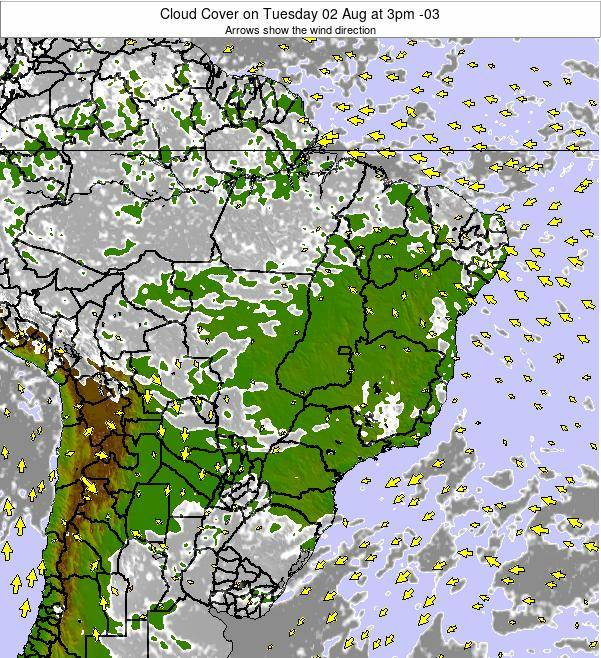Brazil Cloud Cover on Tuesday 11 Mar at 9am BRT