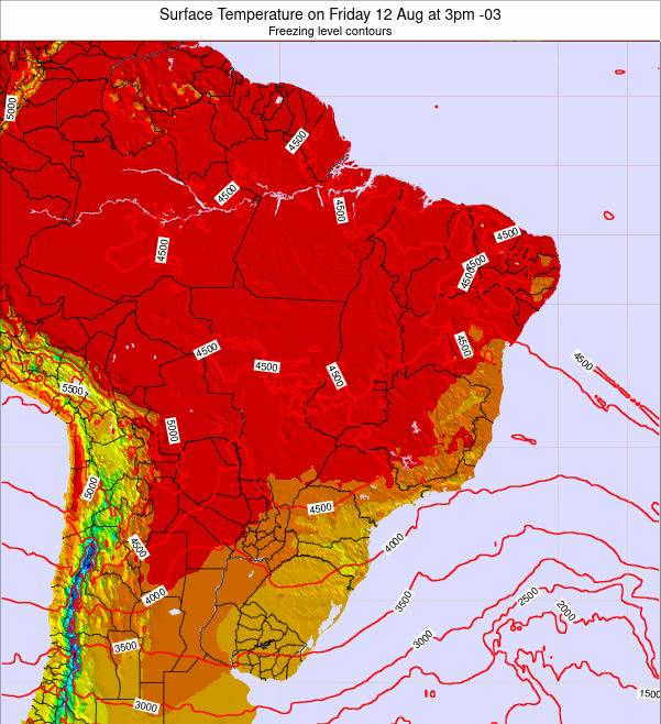 Brazil Surface Temperature on Sunday 23 Jun at 3pm BRT