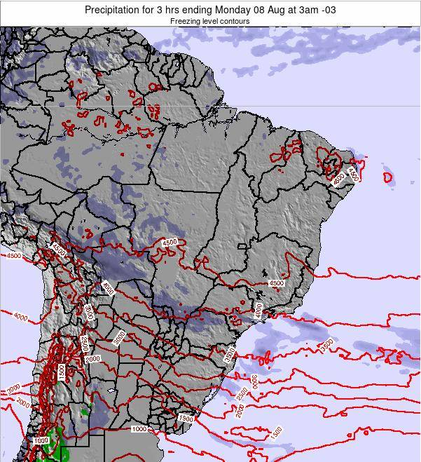 Brazil Precipitation for 3 hrs ending Sunday 23 Jun at 9pm BRT map
