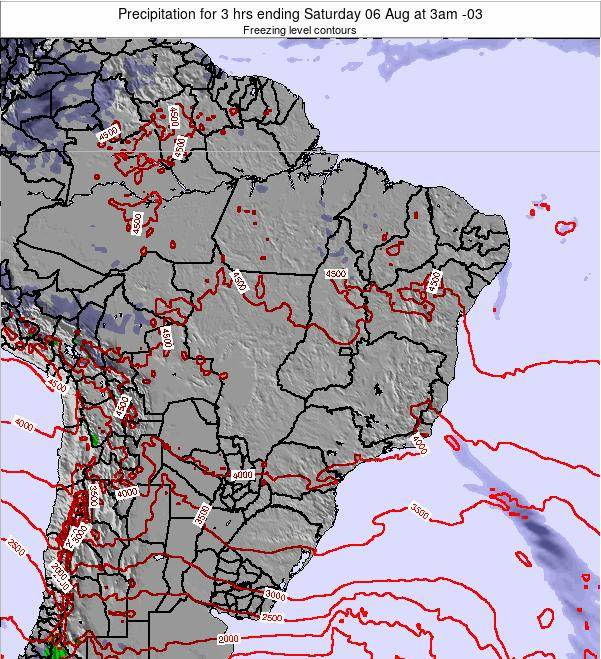 Brazil Precipitation for 3 hrs ending Thursday 20 Jun at 3pm BRT map