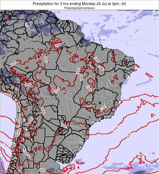 Brazil Precipitation for 3 hrs ending Saturday 25 May at 9pm BRT map