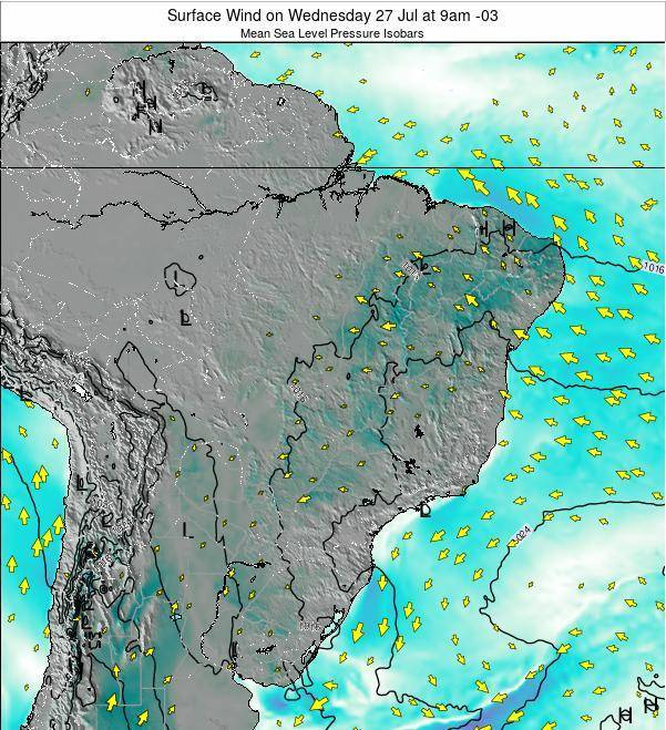 Brazil Surface Wind on Monday 28 Apr at 9am BRT