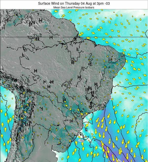 Brazil Surface Wind on Wednesday 29 May at 3pm BRT