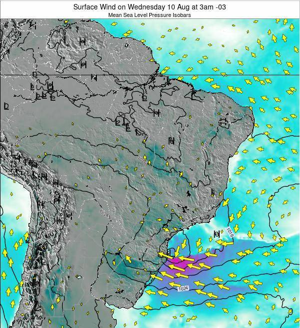 Brazil Surface Wind on Tuesday 11 Mar at 3pm BRT