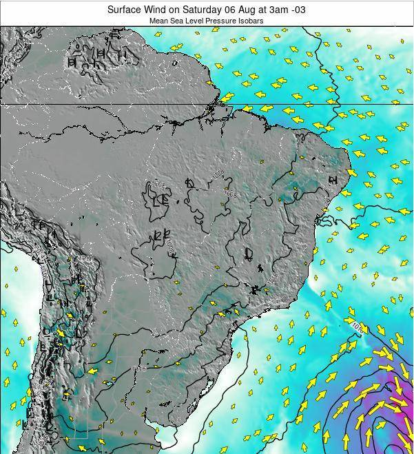 Brazil Surface Wind on Tuesday 28 May at 3am BRT