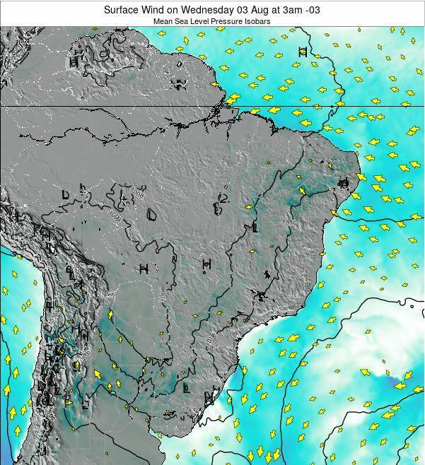 Brazil Surface Wind on Friday 24 May at 3am BRT map