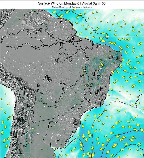 Brazil Surface Wind on Thursday 30 May at 3pm BRT map