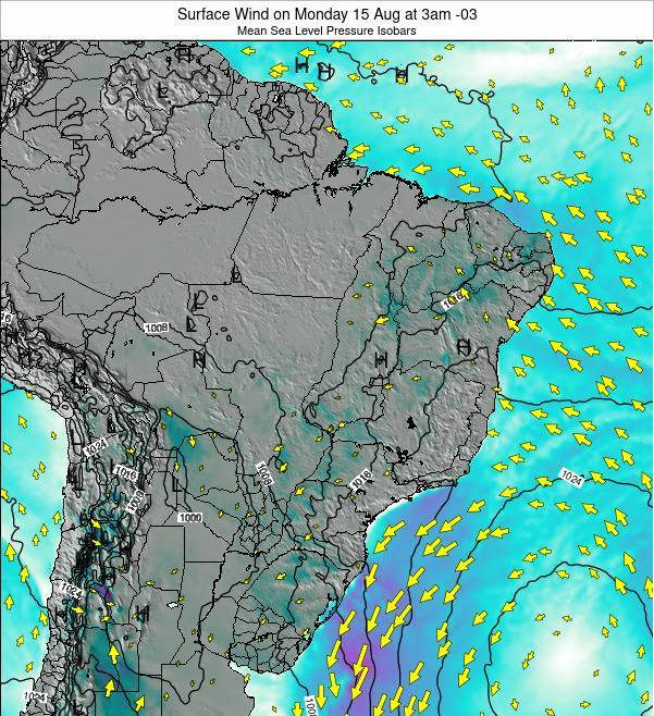 Brazil Surface Wind on Saturday 25 May at 3am BRT