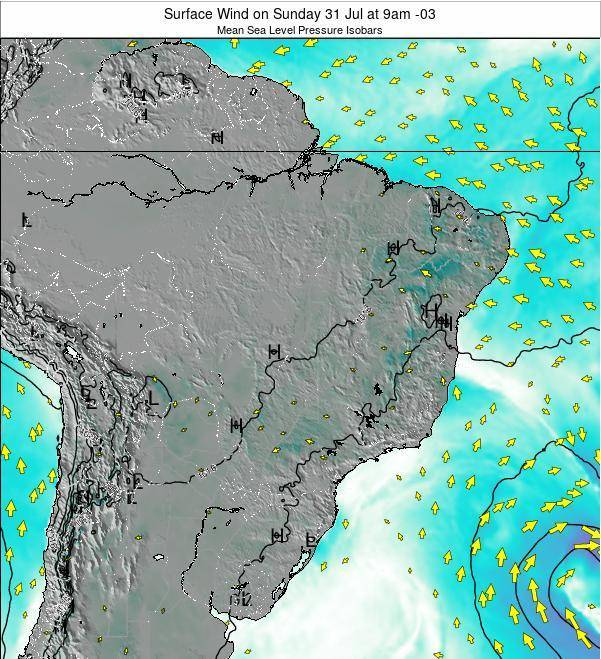 Brazil Surface Wind on Saturday 25 May at 9am BRT
