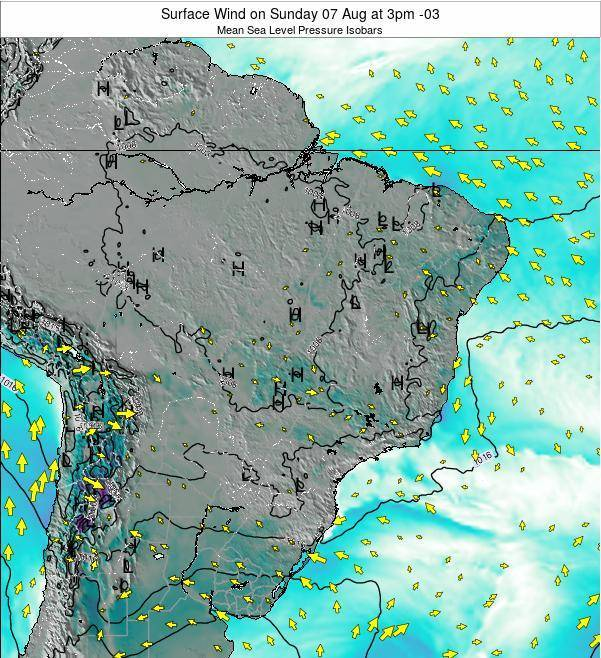 Brazil Surface Wind on Friday 21 Jun at 9am BRT map