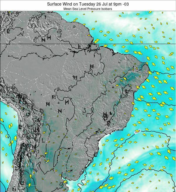 Brazil Surface Wind on Saturday 27 Aug at 9pm BRT