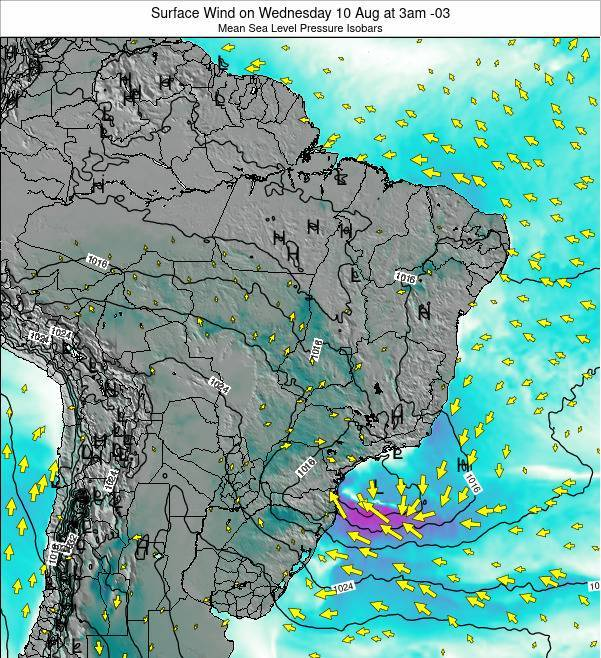 Brazil Surface Wind on Friday 25 Jul at 9pm BRT