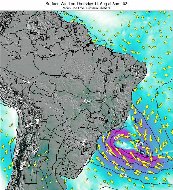 Brazil Surface Wind on Friday 27 Apr at 9pm BRT map