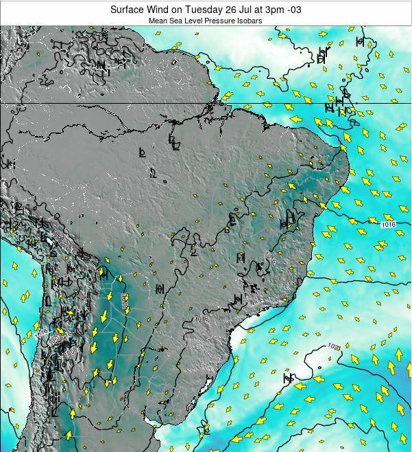 Brazil Surface Wind on Monday 21 Apr at 9pm BRT