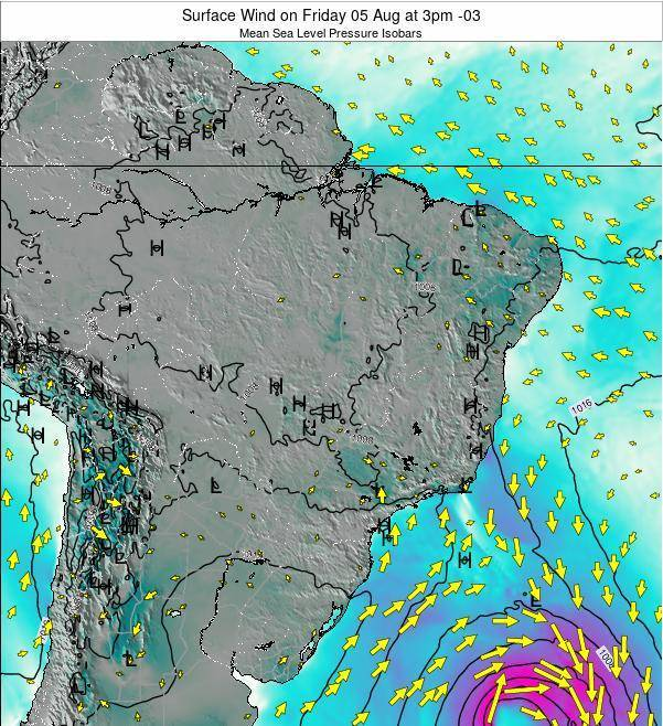 Brazil Surface Wind on Friday 13 Dec at 10pm BRST
