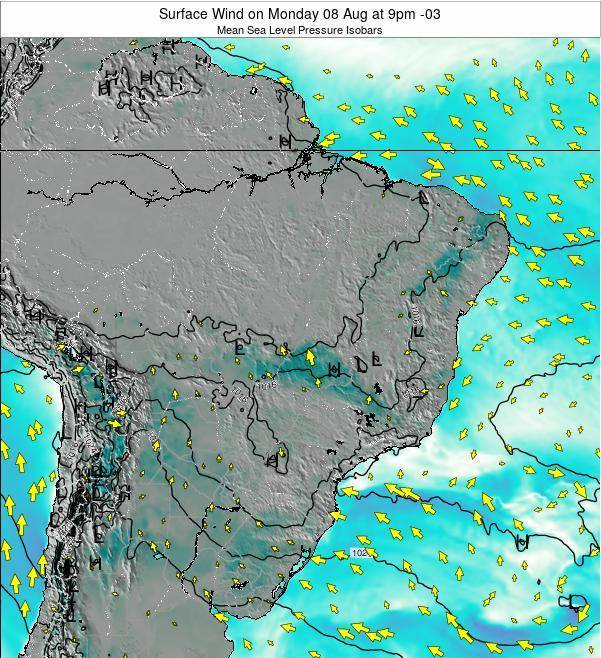 Brazil Surface Wind on Saturday 26 Apr at 9pm BRT