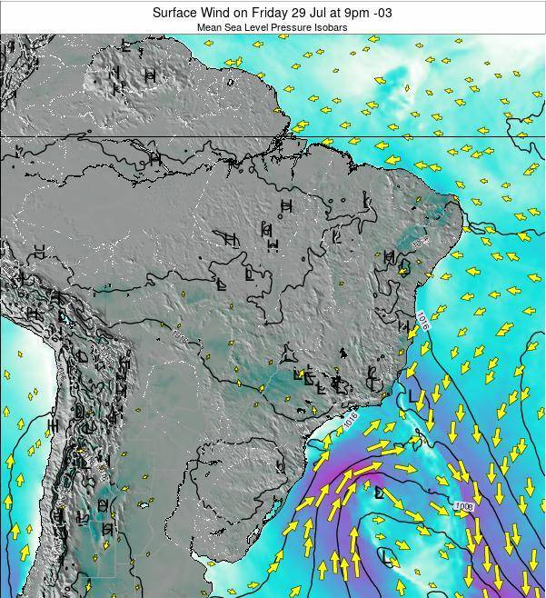Brazil Surface Wind on Saturday 29 Aug at 9pm BRT