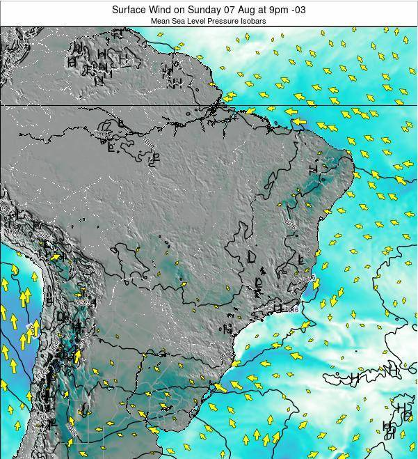 Brazil Surface Wind on Sunday 09 Mar at 9pm BRT