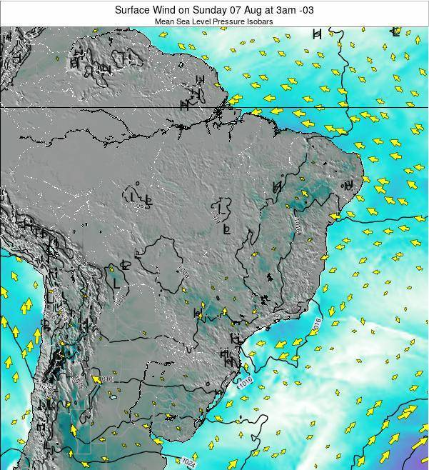 Brazil Surface Wind on Saturday 22 Jun at 3am BRT