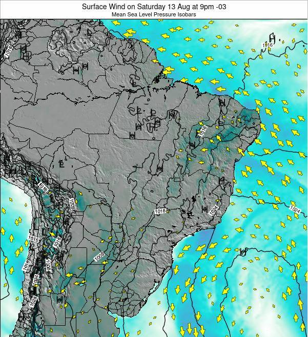 Brazil Surface Wind on Sunday 23 Jun at 3pm BRT