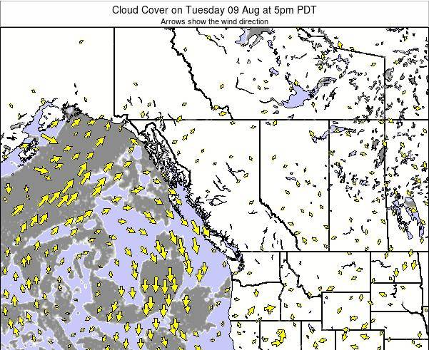 British-Columbia Cloud Cover on Thursday 23 May at 11am PDT