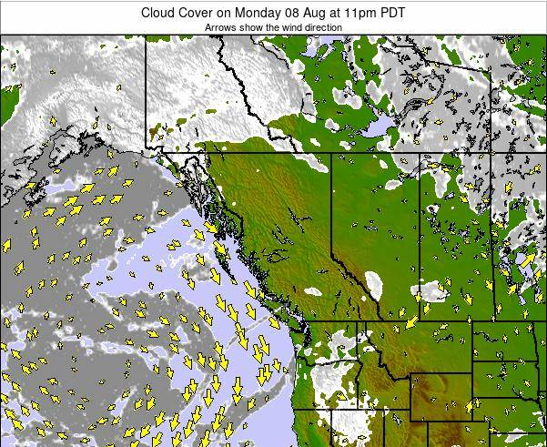 British-Columbia Cloud Cover on Sunday 15 Dec at 4am PST